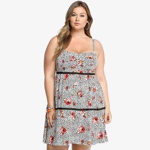 4c5d98dc80f02 torrid Dresses - Torrid Floral Animal Print Lace Trim Challis Dress